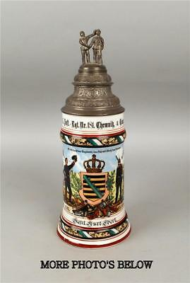 German Regimental Military Lithophane Lidded .5L Beer Stein