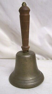 Old Vintage Antique Brass Bell Wood Wooden Handle School House Dinner Lunch Bell