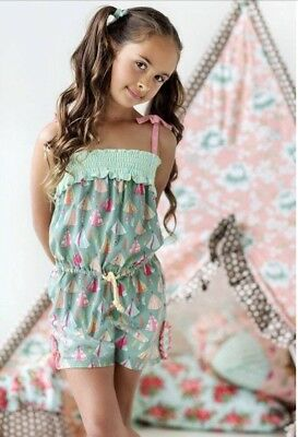 Girls MATILDA JANE~Happy And Free~ Campfire Stories Romper Size 4 Tents