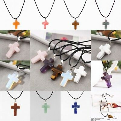 Natural Crystal Cross Stone Quartz Pendant Necklace Healing Point Chakra Leather
