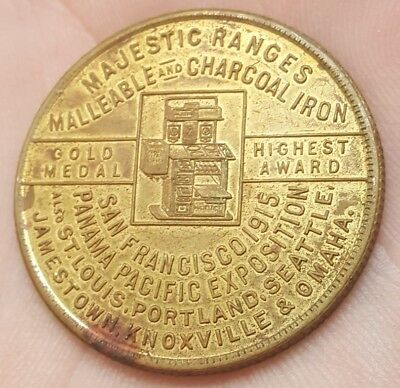 Rare 1915 Pan Pacific Exposition Majestic Ranges Horoscope Good Luck Token Medal
