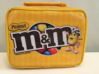 New with tag peanut m&m's zipper insulated yellow soft lunch box -pouch inside