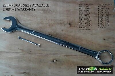 """TYPHOON TOOLS Combination Spanners imperial sizes 1/4"""" to 2"""" - Lifetime Warranty"""