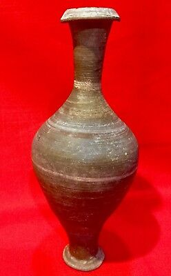 Very Nice Large Hellenistic Terracotta Grayware Spindle Bottle ca: 4-100 BC COA