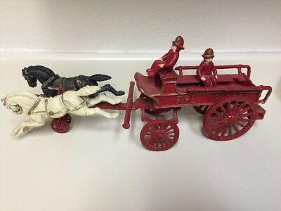 Vintage Cast Iron Horse Drawn Fire/Patrol Wagon with Two Horses 2 Men