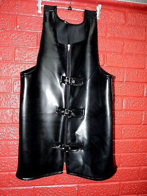 "black heavy latex rubber vest top buckle front 44 46"" chest gay TV slocky"