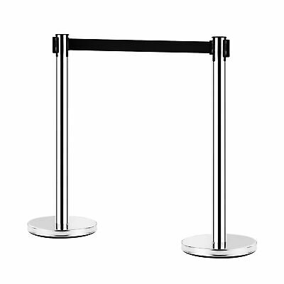 2x 2m Retractable Barrier Belt Queue Crowd Control Barriers Post Stand Stainless