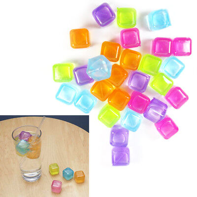 108x Reusable re-freezeable Ice Cubes Multicolour Drinks Bar Barbecue party
