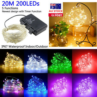 20M 200 LEDs Waterproof Battery String Fairy Light Copper Wire Party Xmas Decor
