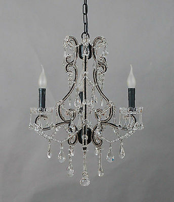 French Chic 3 Arm Black Iron Chandelier With Genuine Glass Crystals