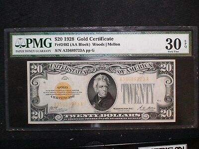 1928 Twenty Dollar GOLD CERTIFICATE $20 NOTE PMG VF30 EPQ $20 BILL BUY IT!