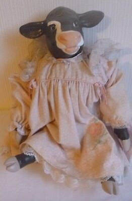 Vintage Hand Painted Ceramic Head and Feet Cow w/ Stuffed Body (Doll)