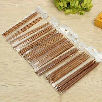 New 55PCS of 11 Sizes Carbonized Bamboo Knitting Needles Double Pointed Hot