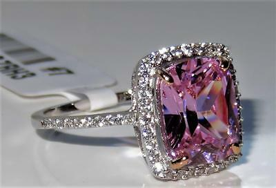 S418 Sterling Silver Simulated Diamond Ring Pink Sapphire Cushion Emerald Cut