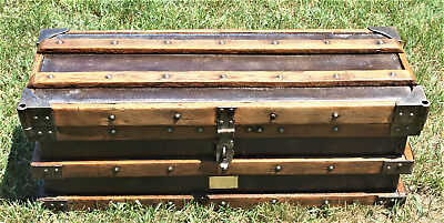 Restored 1897 Antique Vanderman Strongbox, Trunk, Made in Willimantic Conn