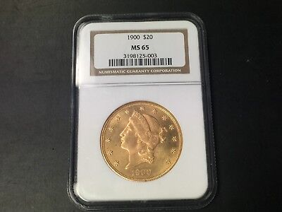 ~* 1900 $20 Twenty Dollar Gold Liberty Double Eagle Coin, Ngc, Ms-65 ~*