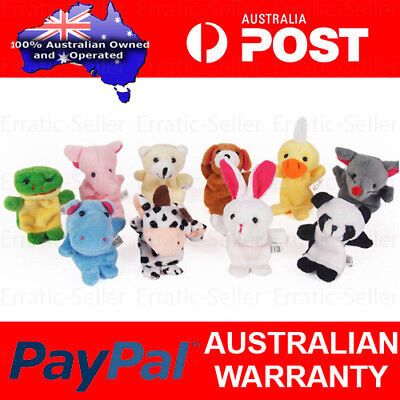 10pcs Cute Animal Finger Puppets Baby Nursery Children Kids Story Time Play Toy