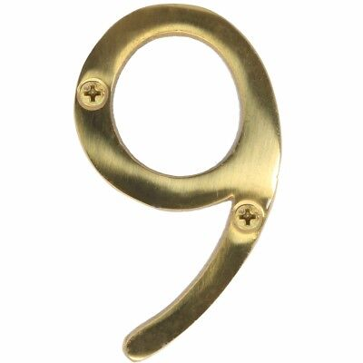 "SOLID POLISHED BRASS NUMBER+SCREWS '9' - (Nine) 75mm/3"" Large House Front Door"
