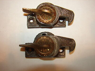 2 Antique Eastlake Victorian Window Sash Locks - No Keepers - Cleaned