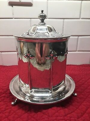 Atkins Bros Silver Plate Lidded Tea Caddy/Biscuit Barrel Footed SHEFFIELD