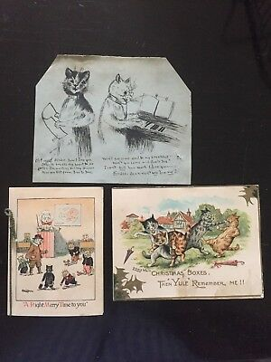 Louis Wain Christmas cards  plus pen&ink drawing. C.1910.