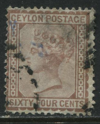 Ceylon QV 1872 64 cents red brown lightly used