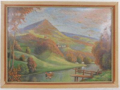 "Vtg Oil Painting on Board Mountain View Landscape Framed Art Signed (21"" x 29"")"