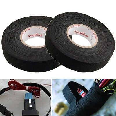 19mmx 15M Adhesive Cloth Fabric Tape Cable Looms Wiring Harness For Car Auto Hh