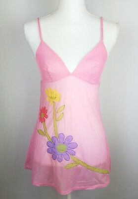 Victoria's Secret Cami Lingerie Top Small Pink Floral Sheer Camisole Chemise
