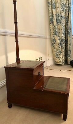 VINTAGE ANTIQUE LIBRARY STEPS Solid wood, Dark stain with Embossed Leather