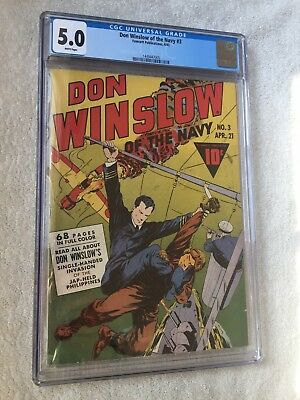 Don Winslow of the Navy #3 CGC 5.0 White pages 1943 & FREE full color photocopy