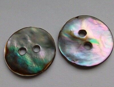 2 Textured Abalone Shell Buttons, Iridescent. Jewellery making/Sewing/Crafts