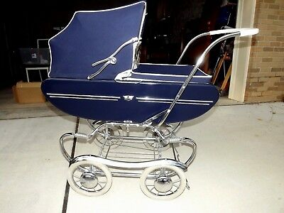 Vtg. Gendron 60's Navy Blue, Chrome, Gorgeous Baby Buggy/pram Carriage Stroller