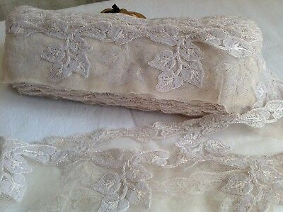 Antique Lace Oyster Blush Pink Needlepoint / Vintage Wedding Haute Couture /1yd