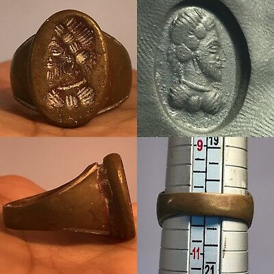 Wonderful Very Rare Museum Quality Unique Old. Greek Beautiful Face Ring