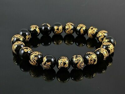 Natural Black Agate Dragon Carved Round Stone Bead Stretch Bracelet