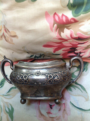 ANTIQUE~Sterling~SOLID~Sugar DISH~Shabby~SIGNED~Chic~10 OZ~Less Than Silver Cost