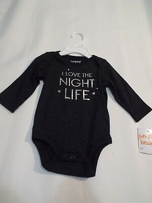 Gray baby girls boy body suit top size 6 m I love the night life free ship