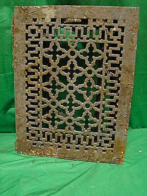 Antique Late 1800's Cast Iron Heating Grate Unique Ornate Design 16 X 12  Jdb