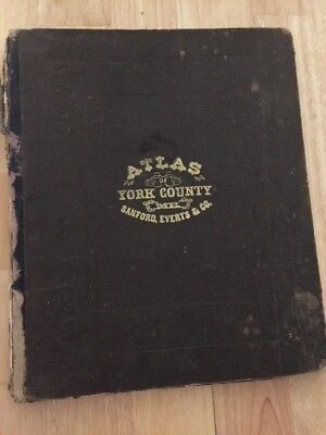 1872 Atlas of York County, Maine, by Sanford Everts & Co. original, 43 maps