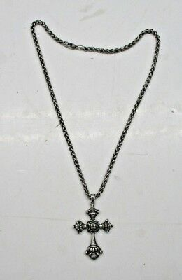 "Retired James Avery Sterling Silver LARGE Victorian Cross with 20"" Necklace"