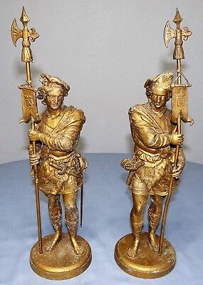 Pair of Antique Metal Sentry Soldier Flag Sword Pike Victorian Mantel Statues