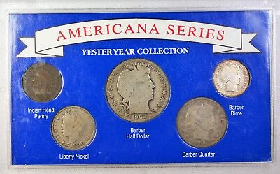 "1892 ""Americana Series"" 5 Coin Set Mixed Dates w/ Silver Half Quarter & Dime"