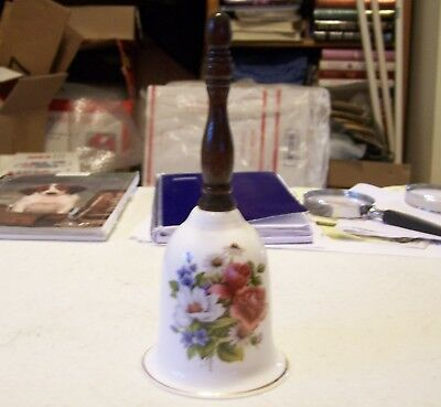 Beautiful Fine Bone China Bell with Wood Handle - Flowers