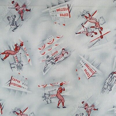 Vintage Baseball Fabric MCM Textured Crepe Gray Red Expos Visitors 1 + Yards