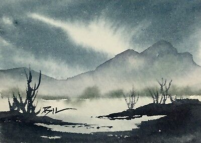 ACEO Original Art Watercolour Painting by Bill Lupton - River Mountain