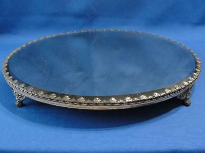 Large Antique Silver Plate Beveled Mirrored Plateau