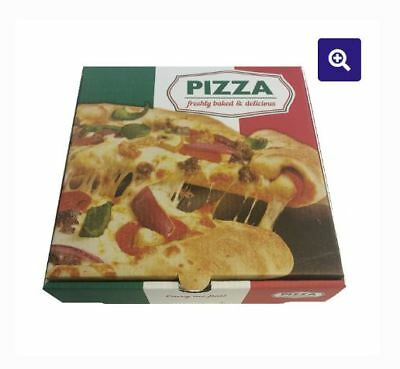 Premium Quality 14 INCH PIZZA BOX Take Away Fast Food White Printed Colour x 100
