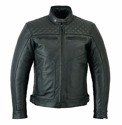BEST UK Mens Motor Cycle Motor Biker Touring Genuine Strong Cow Leather Jacket