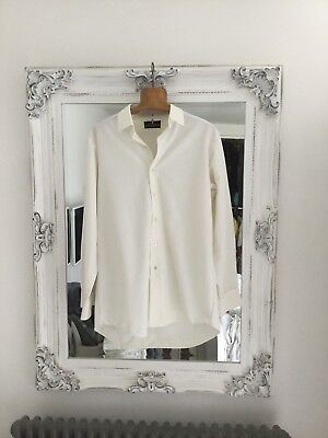 15.5 Vintage 1970s Mens White rocola   bri-Nylon Dress Business Shirt Formal